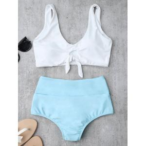 High Waisted Ruched Bikini Set - Azure - Xl