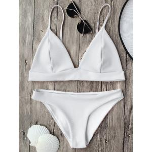 Cami Plunge Bikini Top and Bottoms - White - S