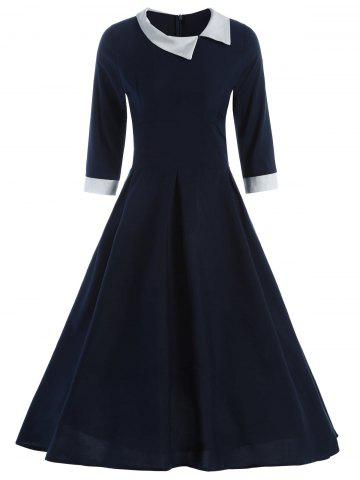 Latest Contrast Collar Tea Length Vintage Swing Dress