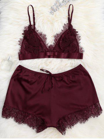 Lace Sheer Bra with Pajama Shorts - Wine Red - S