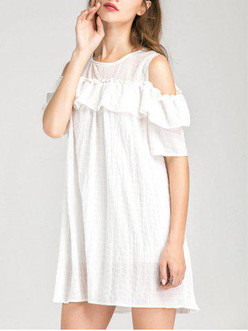 Best Cold Shoulder Layer Ruffles Tunic Casual Dress - S WHITE Mobile