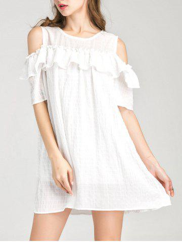 Discount Cold Shoulder Layer Ruffles Tunic Casual Dress WHITE L