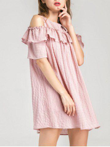 Trendy Cold Shoulder Layer Ruffles Tunic Casual Dress PINK M