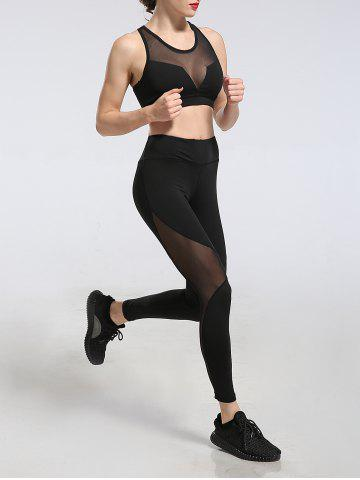 Latest See Through Mesh Work Out Leggings - M BLACK Mobile