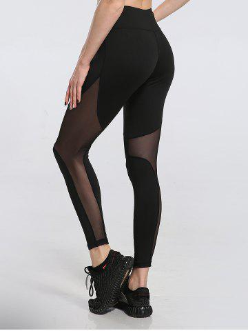 Chic See Through Mesh Work Out Leggings - M BLACK Mobile