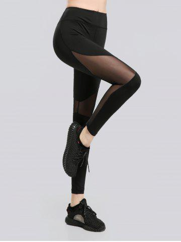 Trendy See Through Mesh Work Out Leggings - M BLACK Mobile