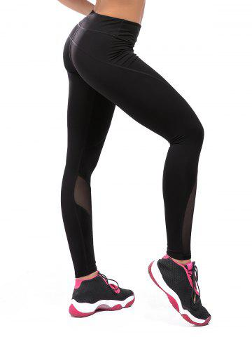 Outfits High Rise Compression Mesh Workout Leggings - L BLACK Mobile