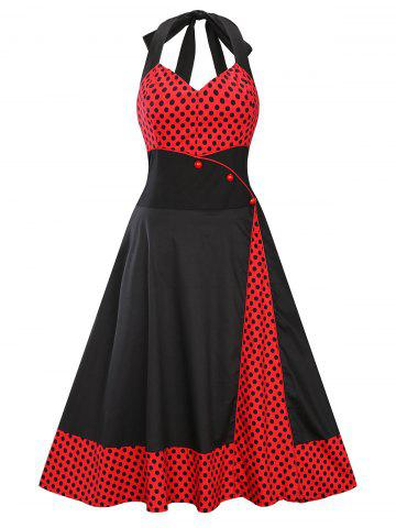 Empire Waist Halter 50s Polka Dot Dress