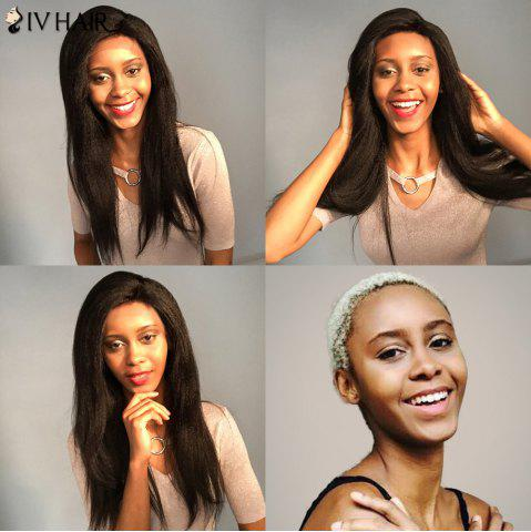 Store Siv Hair Dyed Perm Yaki Long Side Part Straight Lace Front Human Hair Wig - 20INCH BLACK Mobile