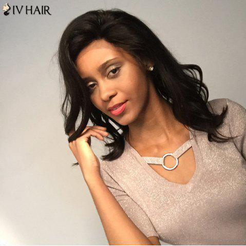 Fashion Siv Hair Medium Free Part Dyed Perm Body Wave  Lace Front Human Hair Wig - 14INCH BLACK Mobile