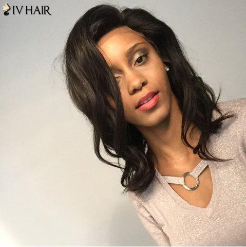 Outfits Siv Hair Medium Free Part Dyed Perm Body Wave  Lace Front Human Hair Wig - 14INCH BLACK Mobile