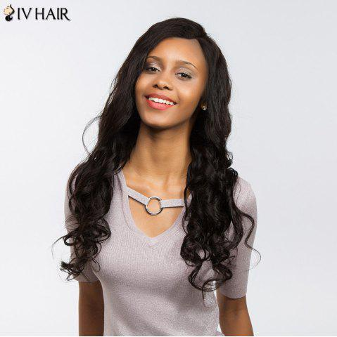 Outfits Siv Hair Dyed Perm Free Part Long Body Wave Lace Front Human Hair Wig - 22INCH BLACK Mobile