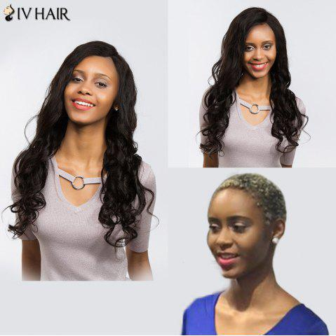 Fashion Siv Hair Dyed Perm Free Part Long Body Wave Lace Front Human Hair Wig - 22INCH BLACK Mobile