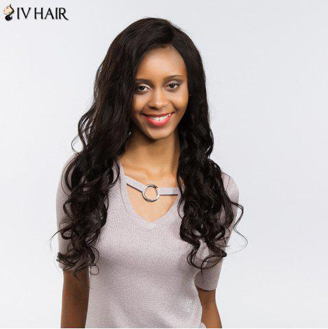 Discount Siv Hair Dyed Perm Free Part Long Body Wave Lace Front Human Hair Wig - 22INCH BLACK Mobile