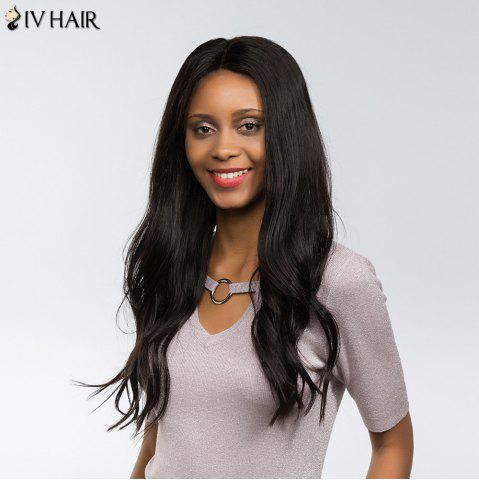 New Siv Hair Dyed Perm Free Part Natural Long Straight Lace Front Human Hair Wig - 22INCH BLACK Mobile