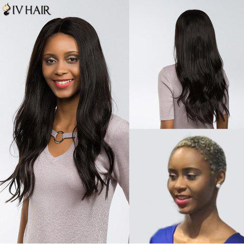 Outfits Siv Hair Dyed Perm Free Part Natural Long Straight Lace Front Human Hair Wig - 22INCH BLACK Mobile