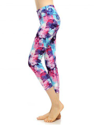 Cheap Capri High Waist Printed Funky Gym Leggings - M MULTICOLOR Mobile