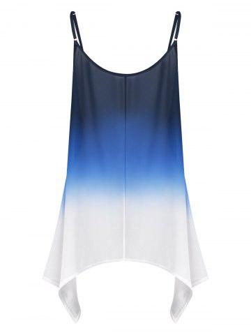 Outfit Plus Size Chiffon Handkerchief Ombre Cami Top - 2XL BLUE Mobile