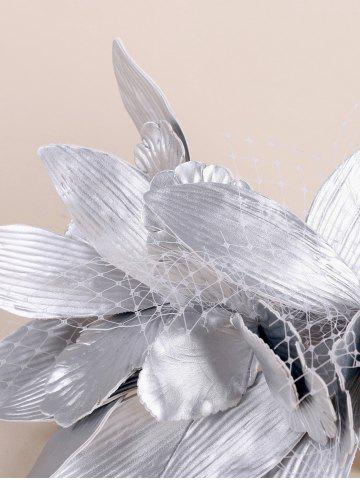 Shop Leaves Mesh Hairpin Fancy Feather Cocktail Hat - SILVER  Mobile