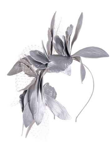Unique Leaves Mesh Hairpin Fancy Feather Cocktail Hat - SILVER  Mobile