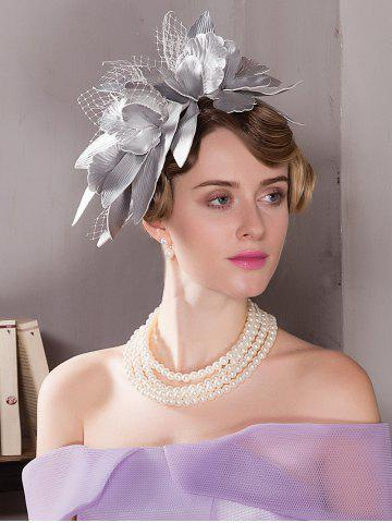 Sale Leaves Mesh Hairpin Fancy Feather Cocktail Hat - SILVER  Mobile
