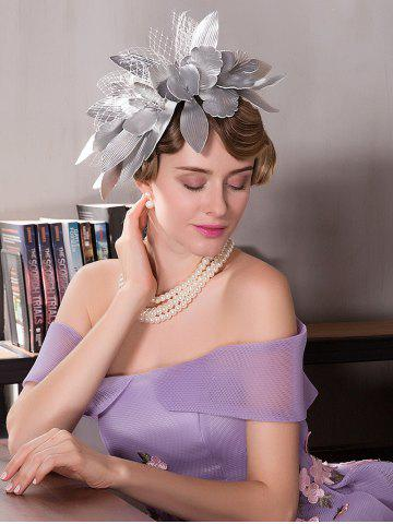 Affordable Leaves Mesh Hairpin Fancy Feather Cocktail Hat - SILVER  Mobile