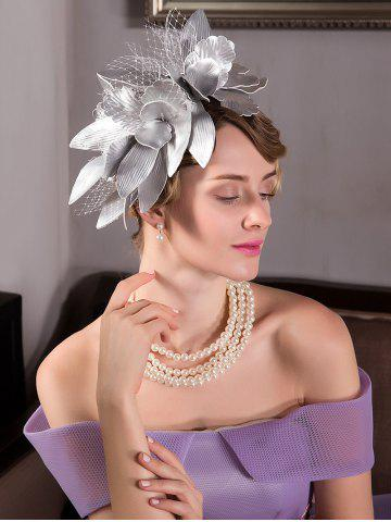 Best Leaves Mesh Hairpin Fancy Feather Cocktail Hat - SILVER  Mobile