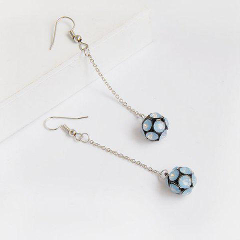 Rhinestone Long Chain Ball Hook Earrings - Blue