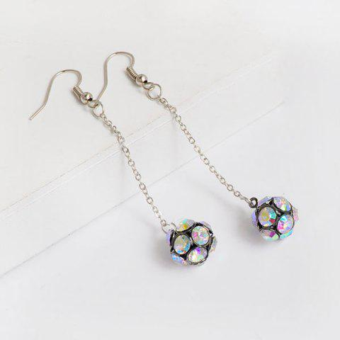Outfits Rhinestone Long Chain Ball Hook Earrings MULTICOLOR