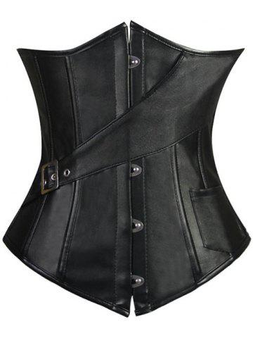 Latest Lace-Up Faux Leather Slimming Corset BLACK S