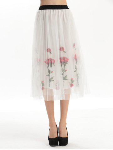 Outfit Embroidered Rose Pleated Tulle Skirt WHITE ONE SIZE