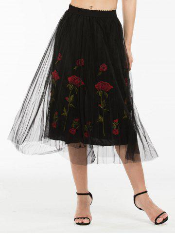 Online Embroidered Rose Pleated Tulle Skirt BLACK ONE SIZE