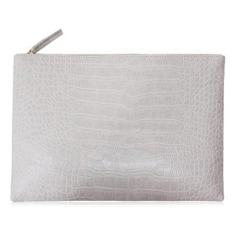 Cheap Crocodile Embossed Faux Leather Clutch Bag