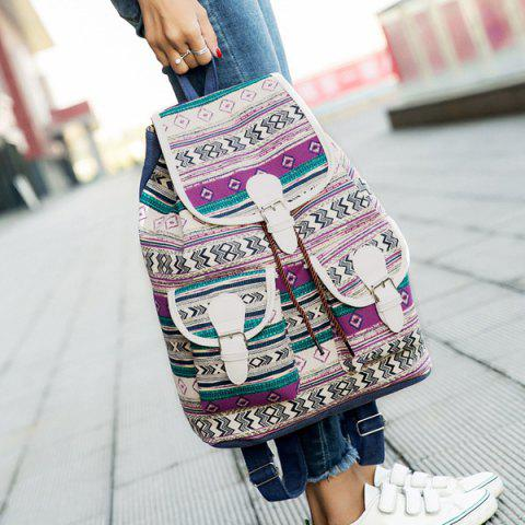 New Tribal Print Buckles Canvas Backpack - PURPLE  Mobile