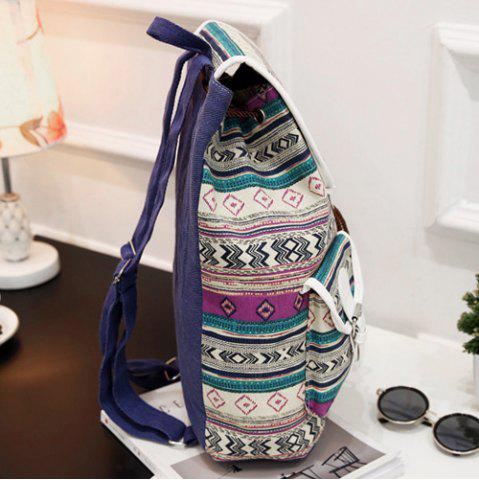 Hot Tribal Print Buckles Canvas Backpack - PURPLE  Mobile