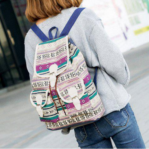 Cheap Tribal Print Buckles Canvas Backpack - PURPLE  Mobile
