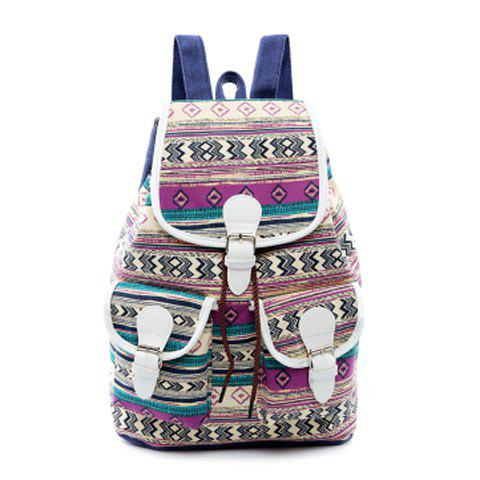 Fashion Tribal Print Buckles Canvas Backpack