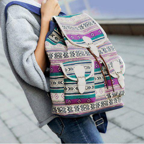 Outfit Tribal Print Buckles Canvas Backpack - PURPLE  Mobile