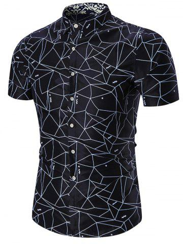 Store Plus Size Geometric Print Shirt - PURPLISH BLUE 7XL Mobile