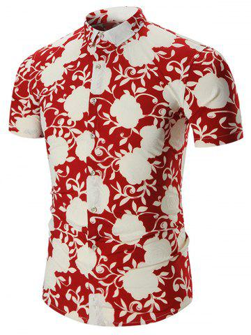 Affordable Plus Size Short Sleeve Hawaiian Shirt - 7XL RED Mobile
