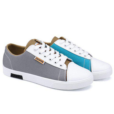New Tie Up Color Block Canvas Shoes - 40 GRAY Mobile