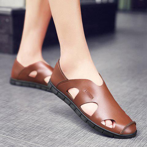Discount Faux Leather Cut Out Sandals - 41 LIGHT BROWN Mobile