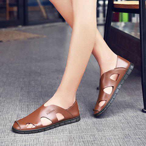 New Faux Leather Cut Out Sandals - 41 LIGHT BROWN Mobile