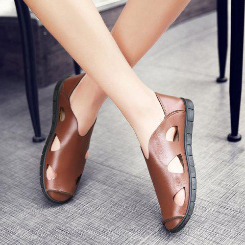 Affordable Faux Leather Cut Out Sandals - 41 LIGHT BROWN Mobile