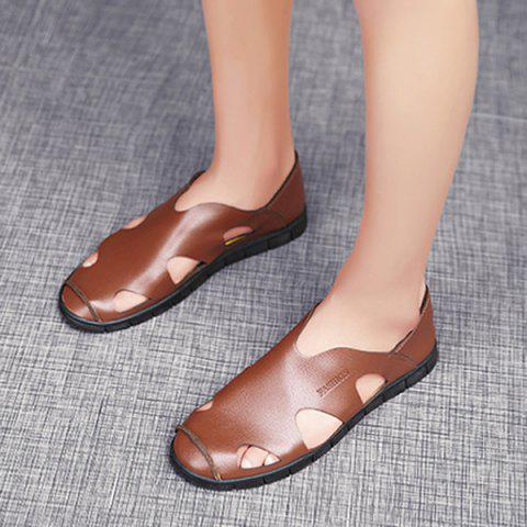 Store Faux Leather Cut Out Sandals - 41 LIGHT BROWN Mobile