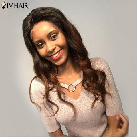 Unique Siv Hair Lace Front Two Tone Free Part Long Body Wave Human Hair Wig - 20INCH COLORMIX Mobile