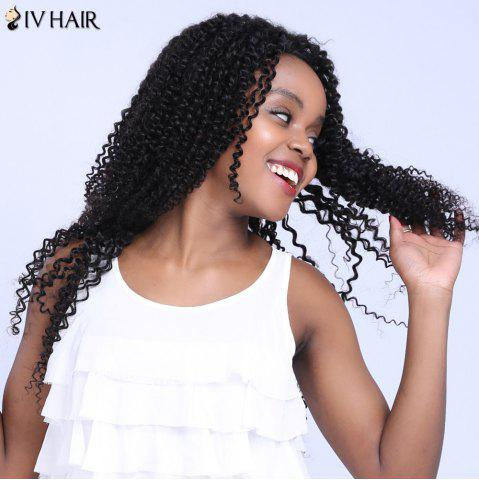 New Siv Hair Free Part Long Jerry Curly Lace Front Human Hair Wig - 20INCH BLACK Mobile