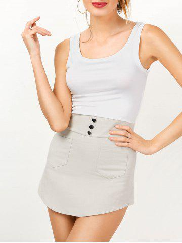 Two Tone Mini Bodycon Sundress - Grey And White - M