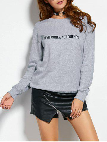 Chic Text Graphic Pullover Sweatshirt GRAY L