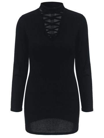 Chic Lace Up Long Sleeve Choker Top - S BLACK Mobile